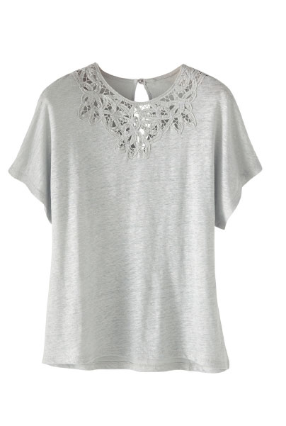Lace Neck Linen T-shirt