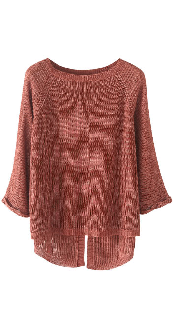 Split back linen sweater