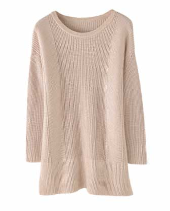 Longline Cotton Rib Sweater