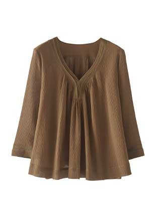 Cotton Silk V-neck Blouse
